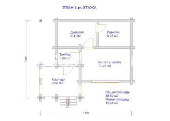 План бани из профилированного бруса Ярково