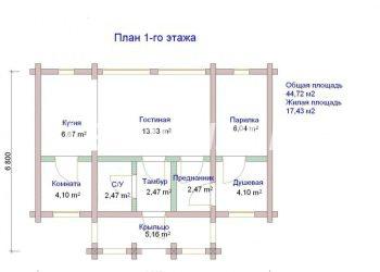 План бани из профилированного бруса Михайлово