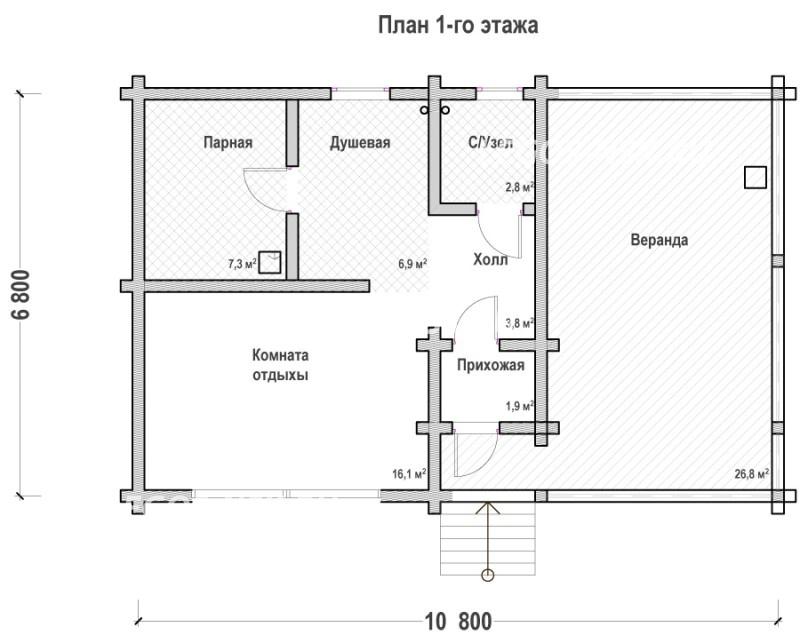 План бани из профилированного бруса Роман