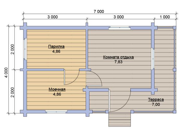 План бани из бруса под ключ 4х7
