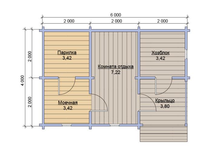 План бани из бруса под ключ 4х6