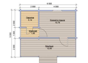 План бани из бруса под ключ 5x6