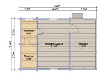 План бани из бруса под ключ 6х9