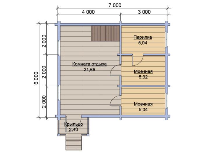План 1 этажа бани из бруса под ключ 6х7
