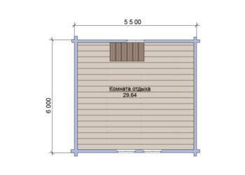 План 2 этажа бани из бруса под ключ 6х7