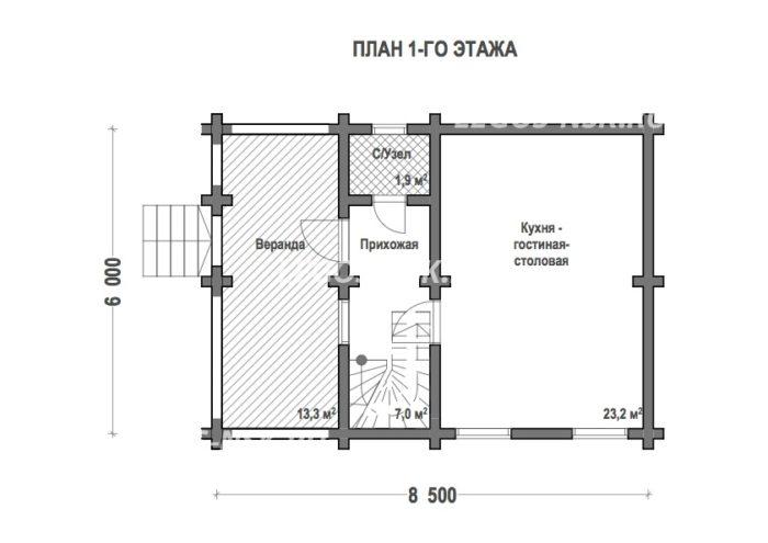 План дома из профилированного бруса Вески
