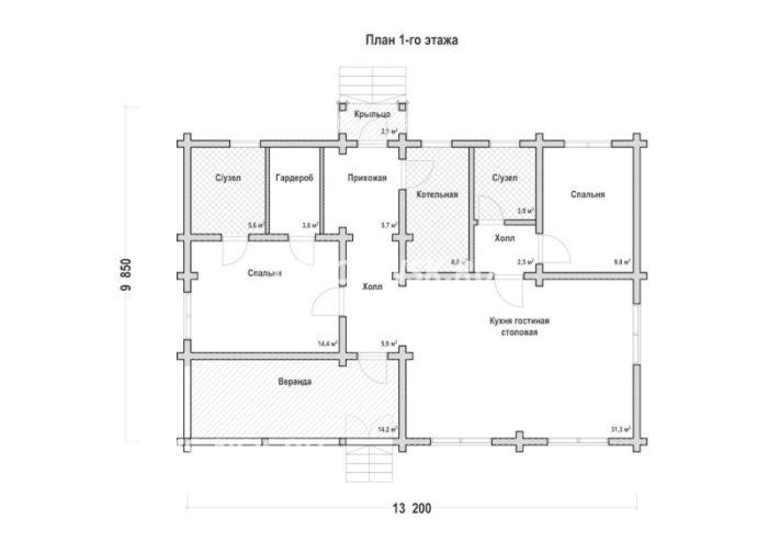 План дома из профилированного бруса Осипов