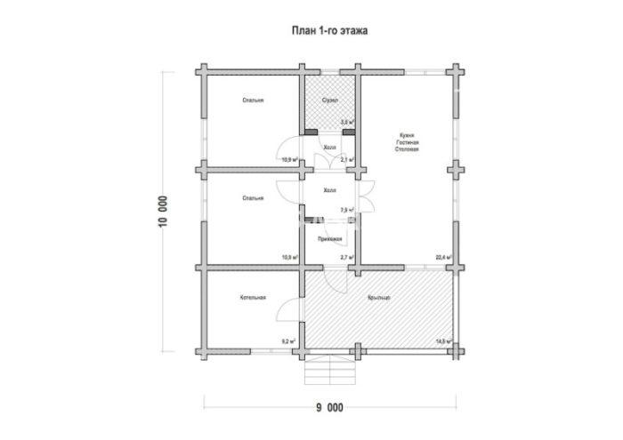 План дома из профилированного бруса Озерово