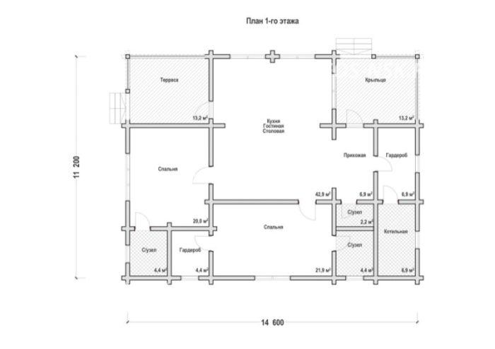 План дома из профилированного бруса Тенеев