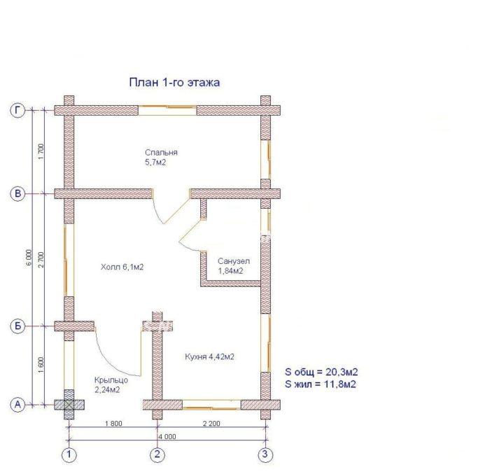 План дома из профилированного бруса Снегири