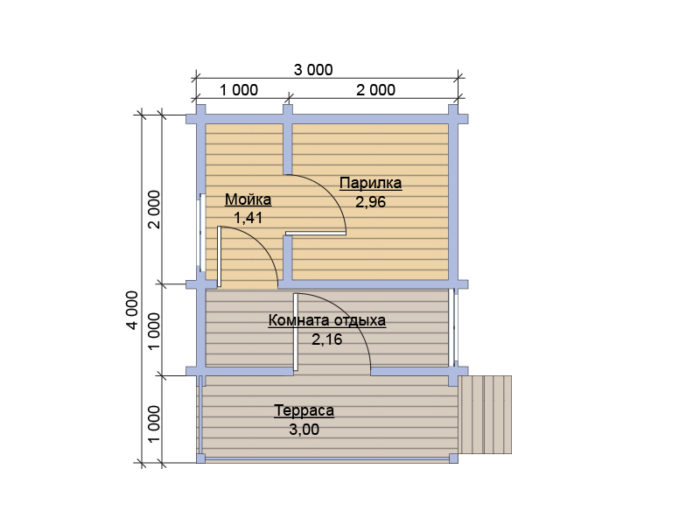 План бани из бруса под ключ 3х4 с террасой