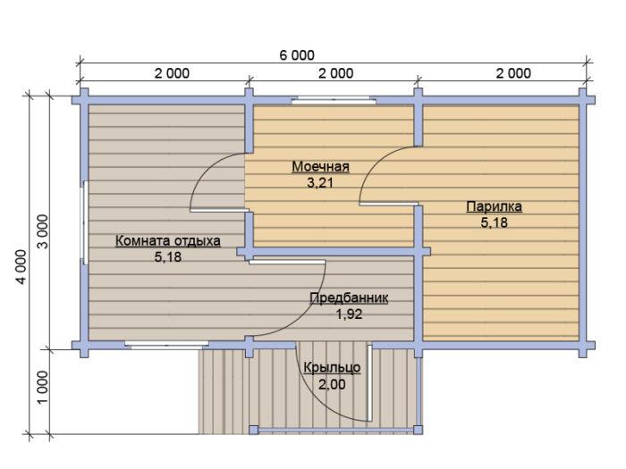 План бани из бруса под ключ 3х6