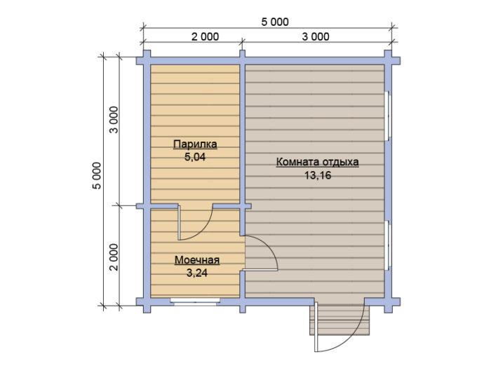 План бани из бруса под ключ 5x5