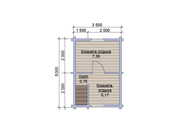 План 2 этажа бани из бруса под ключ 5х7